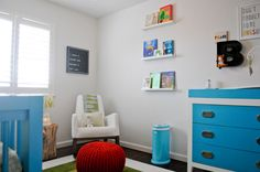 A bright and bold modern nursery for Baby Blake featuring the Monte Design Joya Rocker. Project Nursery - Walk in the Park Nursery