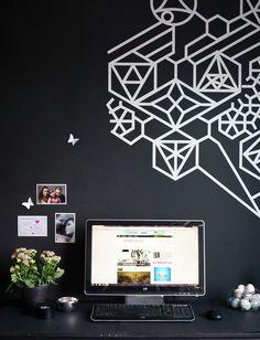 Our black and white, Nordic inspired, home office. Nuestra oficina: muro de pizarrón con vinilo decorativo   Casa Haus