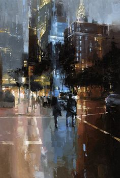 """Evening in NYC"" by Victor Bauer Oil on board, 24"" x 36""."