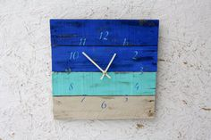 Beautiful OCEAN Blues Wall Clock. Beach House by terrafirma79