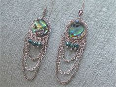 Pua shell, silver and AB crystal earrings
