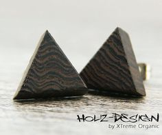 Fake Plug Piercing in Triangel Dreieck Form von XTremeOrganic, €9.50 Wooden ear studs in triangle shape, wooden Fake gauge plugs, earrings from XTremeOrganic, €9.90