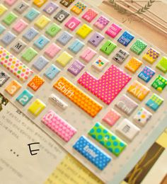 Keybaord Protective Film Multi Color Available -Rainbow Color -Pink Color with Leopard Pattern -Green Color with Dot Pattern -Rainbow Color with Dot Pattern -Rainbow Color with Dot and Heart Pattern -Pink Color with Hello Kitty Pattern  ESC:wide:0.9cm high:1.1cm Tab:wide:2cm high:1.1cm ...