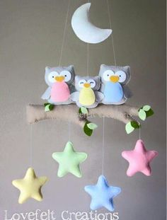 Baby mobile - Owl mobile - Baby crib mobile - Baby mobile owl : Baby mobile Owl mobile Baby crib mobile Baby by lovefeltmobiles Baby Crafts, Felt Crafts, Diy And Crafts, Nursery Crafts, Sewing Projects, Projects To Try, Felt Mobile, Mobile Mobile, Baby Crib Mobile
