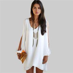 c2711267be97 Plus Size Women Clothing Long sleeve V-neck Sexy Chiffon Dress