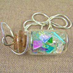 Dichroic Shard BOTTLE Pendant  Confetti Glass by HaydenBrook, $21.99