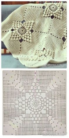 Point Granny Au Crochet, Bobble Crochet, Crochet Quilt, Crochet Pillow, Filet Crochet, Crochet Motif, Crochet Designs, Crochet Stitches, Granny Square Crochet Pattern