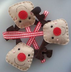 Reindeer felt christmas decorations  Let us help you make your own at our weekly Stitch Classes in Brighton & Hove http://www.sewinbrighton.co.uk/stitchclasses.html