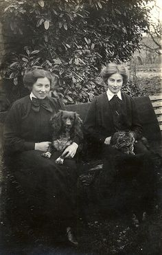 This picture shows Ethel and Dora posing with Dash and Fluff in The photograph was taken by A C Crocker of Yeovil.Found image. This picture shows Ethel and Dora posing with Dash and Fluff in The photograph was taken by A C Crocker of Yeovil. Cute Animal Pictures, Old Pictures, Old Photos, Vintage Lesbian, Vintage Dog, Vintage Photographs, Vintage Photos, Victorian Photos, Victorian Portraits