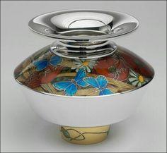 Fred Rich Poppy Bowl - superb champleve enamel work
