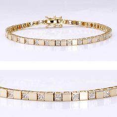 2.03 CTW Princess Cut 14K Cubic Zirconia Bracelet