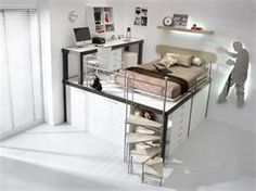 Small bedroom ideas with queen bed for girls kids loft beds from queen loft bed girls Bunk Bed With Desk, Cool Bunk Beds, Kids Bunk Beds, Lofted Beds, Desk Bed, Dresser Bed, Table Desk, Loft Beds For Teens, Teen Loft Beds
