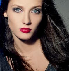 beautiful grey eyes and red lips