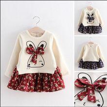 Niña coreana Vestido de bata de pelota vestidos otoño 2-7Y niños vestido del…