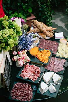 Love this idea of a Charcuterie and cheese bar during cocktail hour.