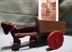 Dobbin and his cart and a 1946 photograph of me playing with him..