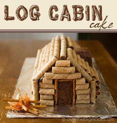 Log Cabin Cake - creative idea for Cub Scouts Blue & Gold cake auction Christmas Pretzels, Christmas Cakes, Camping Cakes, Camping Meals, Gold Cake, Cub Scouts, Girl Scouts, Cakes For Boys, Piece Of Cakes