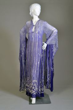 Dress of the day: Purple and white resist dyed silk chiffon dress beaded with various silvered clear beads, Halston, 1978, KSUM 1983.1.591.