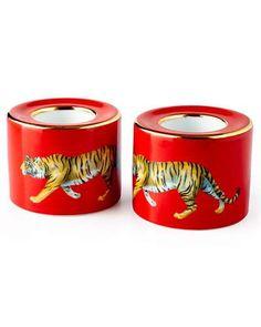 H8DGQ Halcyon Days Tiger Red Tea Light Holders, Set of 2
