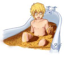 Fan art of little jace taking his bath of spaghetti. lol. :)