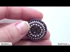 Beaded earrings and beaded necklace: a new beaded bezel earring and a netted necklace - YouTube