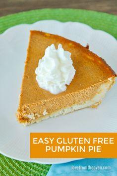 Gluten Free Pumpkin Pie Recipe With Easy Gluten Free Crust (gluten free pie recipes) Gluten Free Deserts, Gluten Free Sweets, Foods With Gluten, Gluten Free Cooking, Dairy Free Recipes, Gf Recipes, Baking Recipes, Healthy Recipes, Gluten Free Pumpkin Pie