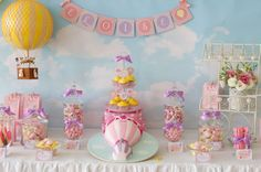 Idea for headtable- blue backdrop with clouds, banner for happy birthday emilia, and hot air balloons on the sides