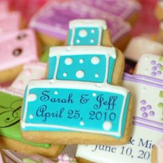 Personalized Wedding Cake Cookies! Please submit us your entry for the giveaway using the Google form: http://www.beau-coup.com/contest/wedding-favors-repin-to-win.htm  #beaucoupfavors