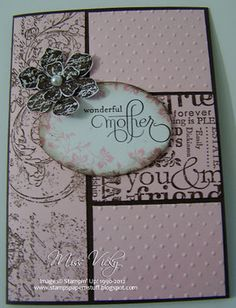 Stamp Set - Vintage Vogue, Well Scripted  Ink - Pink Pirouette, Early Expresso  Cardstock - Whisper White, Pink Pirouette, Early Expresso  Dies - Ovals  Embossing Folder - Perfect Polka Dots  Wheels - Very Vintage, Friendly Words  Accessories - Snail Adhesive, Stampin' Dimensionals, Pearls, Bigshot