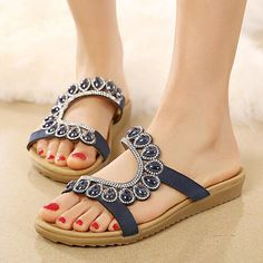Rhinestone Women Summer Leisure Sandals Slip On Flip FLops Shoes Woman