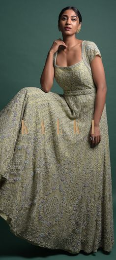Sage Green Gown In Net With Thread And Cut Dana Embroidered Kalidar Pattern Online - Kalki Fashion Indowestern Gowns, Reception Gown, Green Gown, Square Necklines, Cap Sleeves, Sage, Bridal Gowns, Sequin Skirt, Women's Fashion
