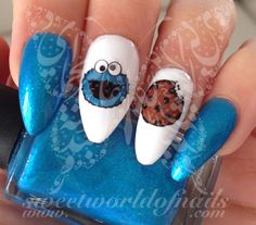 Cookie Monster Nail Art Nail Water Decals Water Slides 20 water decals on a clea. Cookie Monster Nail Art Nail Water Decals Water Slides 20 water decals on a clear water transfer wh Simple Nail Art Designs, Best Nail Art Designs, Beautiful Nail Designs, Easy Nail Art, Beautiful Nail Art, Cool Nail Art, Cookie Monster Nails, Nail Art Disney, Brown Nail Art