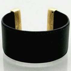 SALE CHIC FAUX LEATHER WIDE CUFF Beautiful black vegan leather wide cuff with brushed gold bar accents. Perfect for day to evening Glam! Feels great on your wrist! shopjewelry  Jewelry