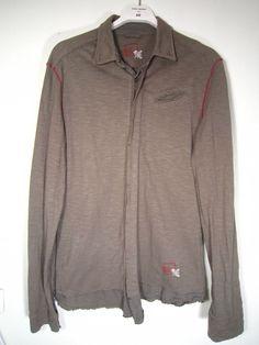 Marithe Francois Girbaud Men's Shirt Knitwear Cotton Khaki Color Size M Rare #Girbaud #ButtonFront