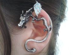 Game of thrones inspired -  dragon ear cuff earrings,silver dragon, dragon ear wrap,Dragon Wrap Earrings on Etsy, $14.90