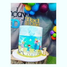 Party theme: We're going on a bear hunt birthday cake