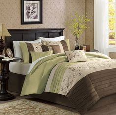Serene in Green, Chocolate Brown and Taupe Comforter Sets by Madison Park