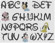 Cross stitch Disney baby alphabet font Disney and baby characters pattern - free cross stitch patterns simple unique alphabets baby Disney Letters, Disney Alphabet, Alphabet Letters, Elephant Cross Stitch, Cross Stitch Baby, Cross Stitching, Cross Stitch Embroidery, Alfabeto Disney, Disney Cross Stitch Patterns