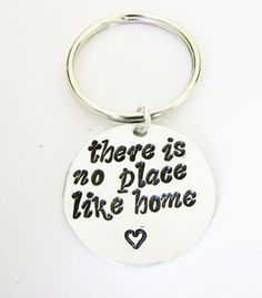 There's No Place Like Home hand stamped silver keychain by RobertaValle