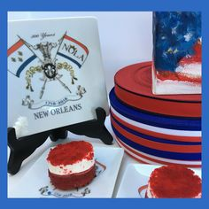 Have a wonderful July holiday. These plates are a perfect way to celebrate with dessert and friends. July 4th Holiday, Customized Gifts, New Orleans, Cities, Plates, Friends, Cake, Desserts, Food