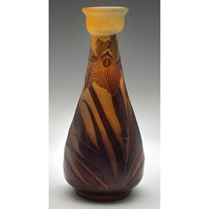 "Emile GALLÉ (1846-1904) Iris vase, France, cameo cut glass, signed, 3.5""dia x 7.5""h (hva)"