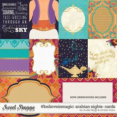 Aladdin inspired digital scrapbooking #believeinmagic: Arabian Nights Cards by Amber Shaw & Studio Flergs