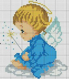 #crossstitch #kanaviçe #mavi #melek #bebek #blue #angel #baby