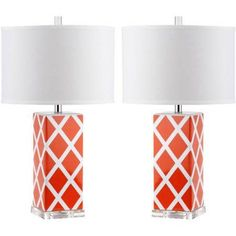 Safavieh Garden Lattice Table Lamp with CFL Bulb, Multiple Color, Set of 2, Orange