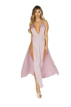 a9a42dd2214 Maxi Length Satin Dress with High Slits   Deep V