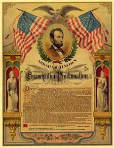 ... LINCOLN CIVIL WAR POSTER EMANCIPATION PROCLAMATION PARCHMENT PRINT 100