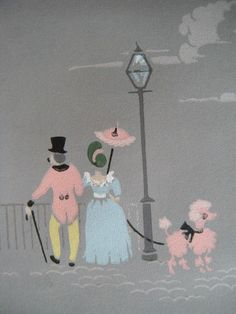 RARE Vintage 1940`s  Wallpaper Roll Paris Eiffel Tower Pink Poodle