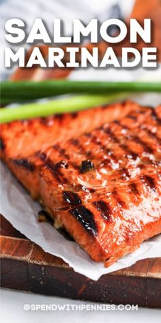 This easy salmon marinade recipe is quick and simple to prepare. Made with soy sauce brown sugar sesame oil and spices for the perfect balance of sweet and spicy. Perfect for pan-fried baked or grilled fillets! Marinated Salmon, Grilled Salmon Recipes, Garlic Salmon, Easy Salmon Recipes, Baked Salmon, Fish Recipes, Seafood Recipes, Cooking Recipes, Dinner Recipes