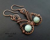 Wire wrapped earrings / blue green Amazonite / wire wrapped jewelry handmade / woven wire jewelry / earthy antiqued copper jewelry