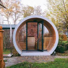 Optirelax Deluxe Gartensauna Relaxpipe fass Luxus Gartensauna Relaxpipe L Diy Sauna, Outdoor Sauna, Outdoor Decor, Sauna House, Bubble House, Sacred Garden, Sauna Design, Ski Decor, Carports